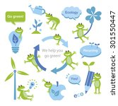 set of eco elements and frogs | Shutterstock .eps vector #301550447
