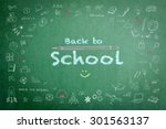 back to school greeting with on ... | Shutterstock . vector #301563137
