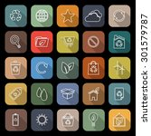ecology line flat icons with... | Shutterstock .eps vector #301579787