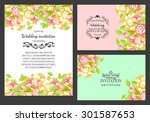 wedding invitation cards with... | Shutterstock .eps vector #301587653