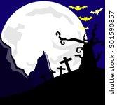 halloween night  black castle... | Shutterstock .eps vector #301590857