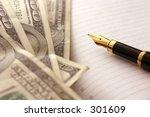 dollars and pen | Shutterstock . vector #301609