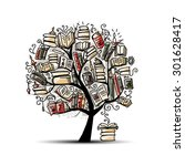 book tree  sketch for your... | Shutterstock .eps vector #301628417