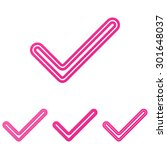 pink line check mark logo...