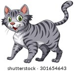 Stock vector short hair cat with gray fur 301654643