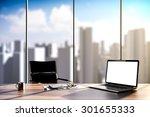 3d rendering   office workplace ... | Shutterstock . vector #301655333