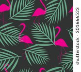 seamless flamingo vector... | Shutterstock .eps vector #301666523