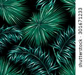 tropical palm leaves seamless... | Shutterstock .eps vector #301671233