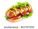 Stock photo hotdog with big sausage and fresh tomato isolated on white 301707353