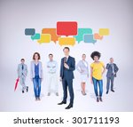 business team against grey... | Shutterstock . vector #301711193