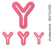 crimson line y logo design set