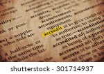Small photo of accredit word in old textured dictionary