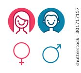vector male and female icon set.... | Shutterstock .eps vector #301717157