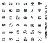 vector black camera icon set on ... | Shutterstock .eps vector #301733147
