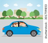 happy family driving in a car.... | Shutterstock .eps vector #301759853