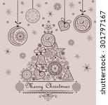 retro seasonal greeting with... | Shutterstock .eps vector #301797167