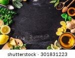 ingredients for ginger tea with ... | Shutterstock . vector #301831223