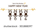 New Year Card With Monkey For...