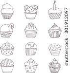 set of twelve cupcakes | Shutterstock .eps vector #301912097