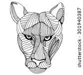 mountain lion head illustration   Shutterstock .eps vector #301940387