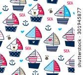 Teddy Bear On Ship Seamless...