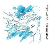 beautiful fashion women face... | Shutterstock .eps vector #301948313