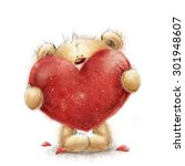 teddy bear with the big red... | Shutterstock . vector #301948607