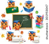 set of wise owls in graduation... | Shutterstock .eps vector #301953047