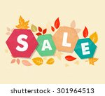 autumn sale with fall leaves ... | Shutterstock . vector #301964513