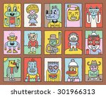various fantastic funny... | Shutterstock .eps vector #301966313