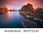 Stock photo arctic sunrise long exposure of a magic sunrise over the village of hamnoy in the lofoten islands 301972133