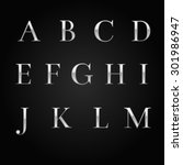glossy silver font design set... | Shutterstock . vector #301986947