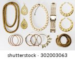 woman accessories gold and...   Shutterstock . vector #302003063