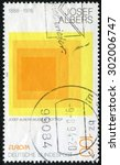 Small photo of GERMANY- CIRCA 1993: stamp printed in Germany, shows Homage to the Square, by Joseph Albers, circa 1993.