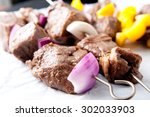 raw beef and vegetable shish...