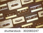 audio cassette. retro background | Shutterstock . vector #302083247