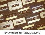 Audio Cassette. Retro Background