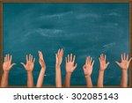 human hand  hand raised ... | Shutterstock . vector #302085143