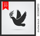 Icon Of Dove Flying With Olive...