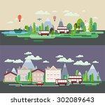 flat design nature landscape... | Shutterstock .eps vector #302089643
