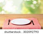 plate  wood  fork. | Shutterstock . vector #302092793