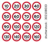 speed limit km sign vector set | Shutterstock .eps vector #302108033