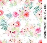 delicate magnolia  lilies ... | Shutterstock .eps vector #302117183