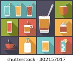 non alcoholic drinks vector... | Shutterstock .eps vector #302157017