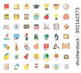 set of modern flat vector icons ... | Shutterstock .eps vector #302162573