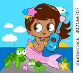 cute mermaid sitting on a rock... | Shutterstock .eps vector #302166707