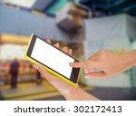 businesswoman sending messages... | Shutterstock . vector #302172413