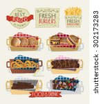 snacks in baskets with hand... | Shutterstock .eps vector #302173283