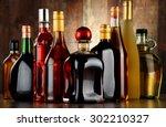 bottles of assorted alcoholic...   Shutterstock . vector #302210327