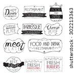 burgers logo set in vintage... | Shutterstock .eps vector #302213363